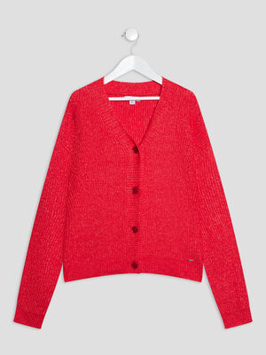 Gilet manches longues rouge fille