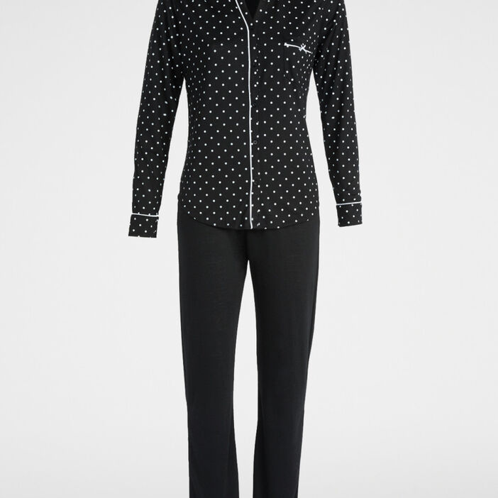 Pyjama imprimé chemise et pantalon femme noir