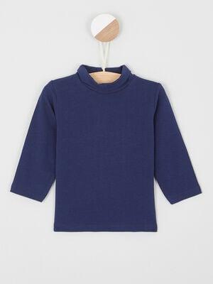 T shirt col roule coton majoritaire bleu marine garcon