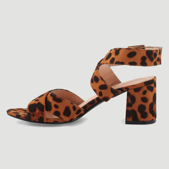 Sandales à brides croisées femme marron