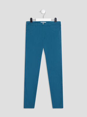 Pantalon slim taille ajustable bleu canard fille