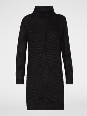 Robe pull unie col roule noir femme