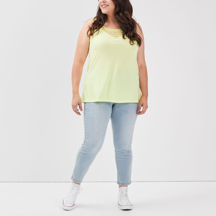 Jeans slim grande taille femme grande taille denim bleach