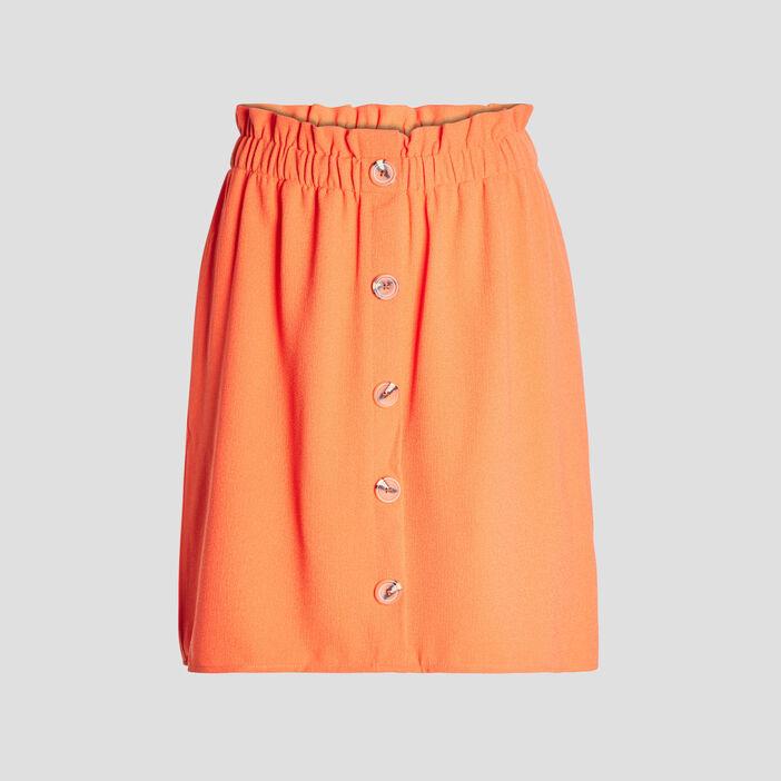 Jupe évasée à boutons femme orange