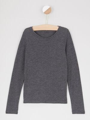 T shirt uni col rond gris fonce fille