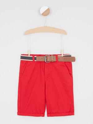 Bermuda chino ceinture amovible rouge garcon