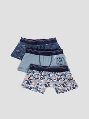 Lot 3 boxers bleu gris garcon