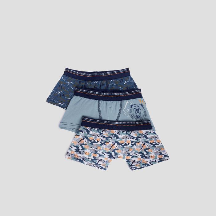 Lot 3 boxers garçon bleu gris