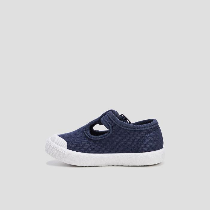 Sandales salomé en toile bébé garçon bleu