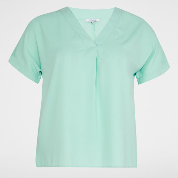 Chemise manches courtes femme grande taille vert pastel