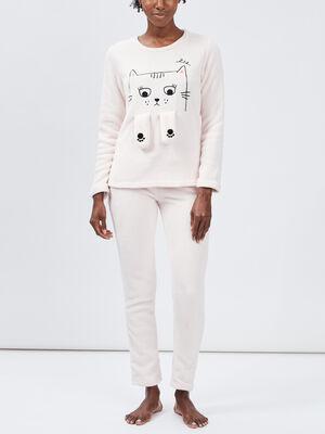 Ensemble pyjama creme femme