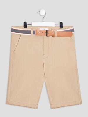 Bermuda droit ceinture beige garcon