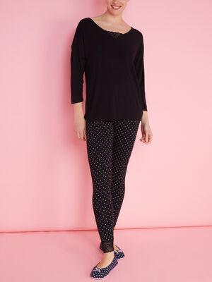 Pyjama uni deux pieces noir femme