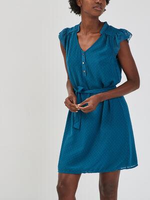 Robe droite ceinturee bleu canard femme