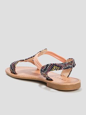 Sandales plates noir fille