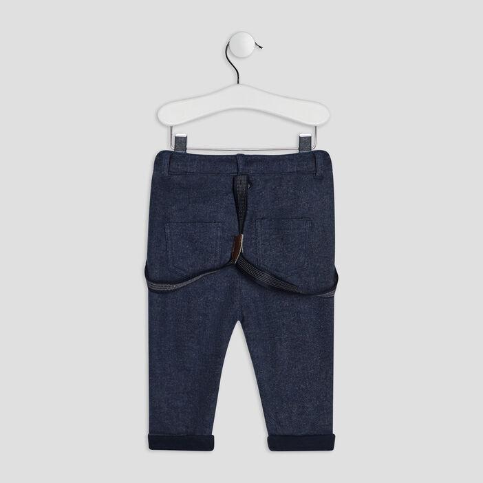 Pantalon droit à bretelles bébé garçon gris