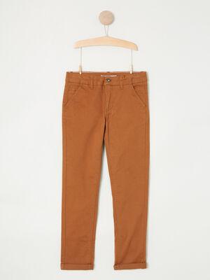 Pantalon 5 poches coton extensible marron clair garcon