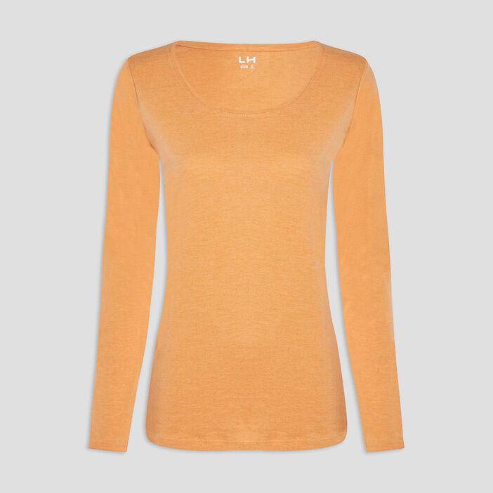 T-shirt manches longues femme jaune moutarde