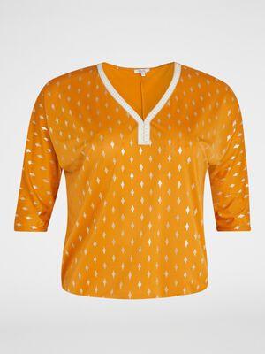 T shirt imprime a motifs pailletes jaune moutarde femme