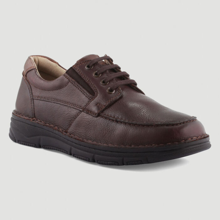 Derbies unies en cuir homme marron