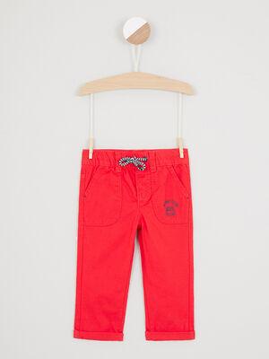 Pantalon droit taille elastiquee rouge garcon