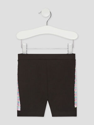 Short slim details sequins noir fille