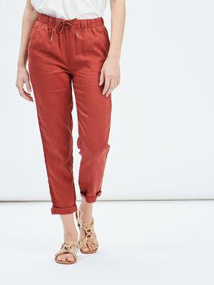Pantalon droit fluide terracotta femme