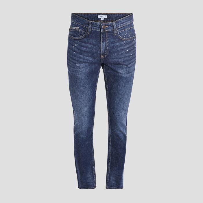 Jeans straight effet stretch homme denim stone