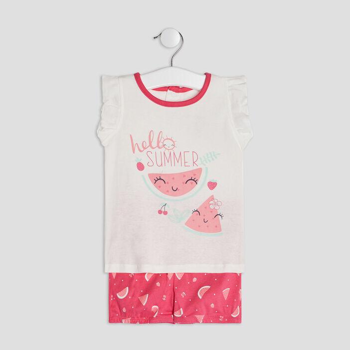 Ensemble 2 pièces bébé fille rose framboise