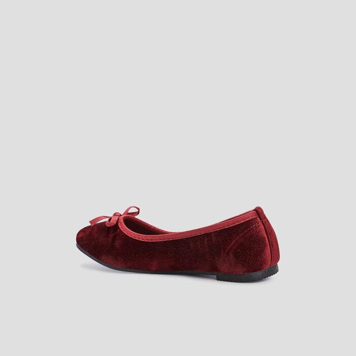 Ballerines effet velours fille rouge
