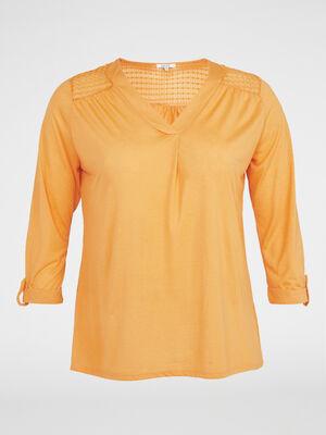 T shirt uni avec dentelle fantaisie jaune moutarde femme