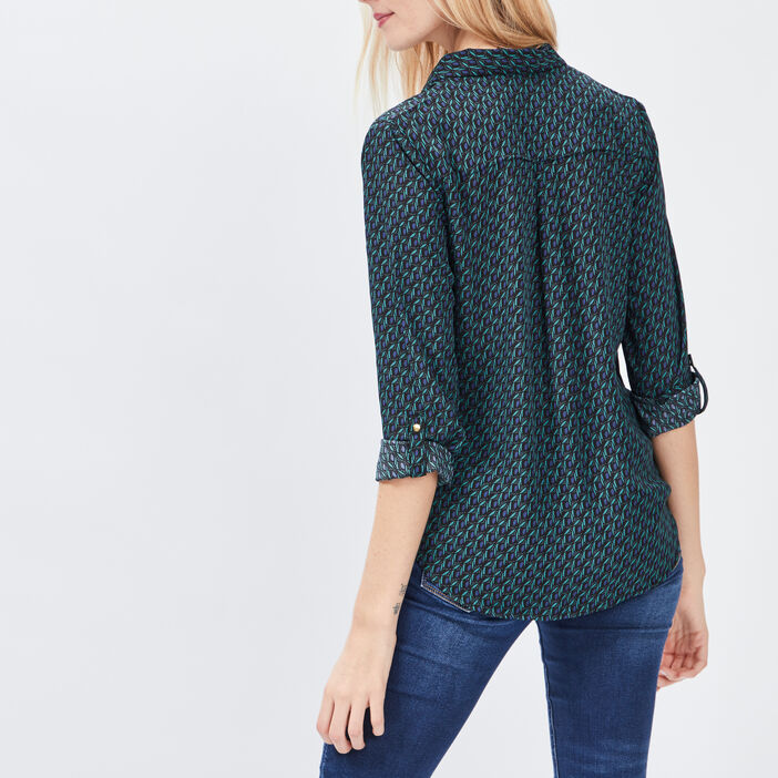 Chemise manches 3/4 femme vert