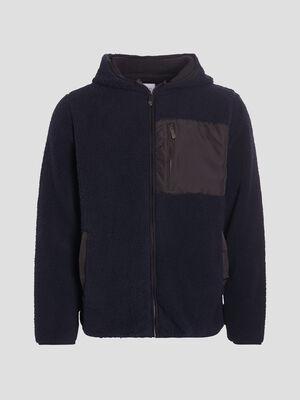 Gilet zippe a capuche bleu marine homme