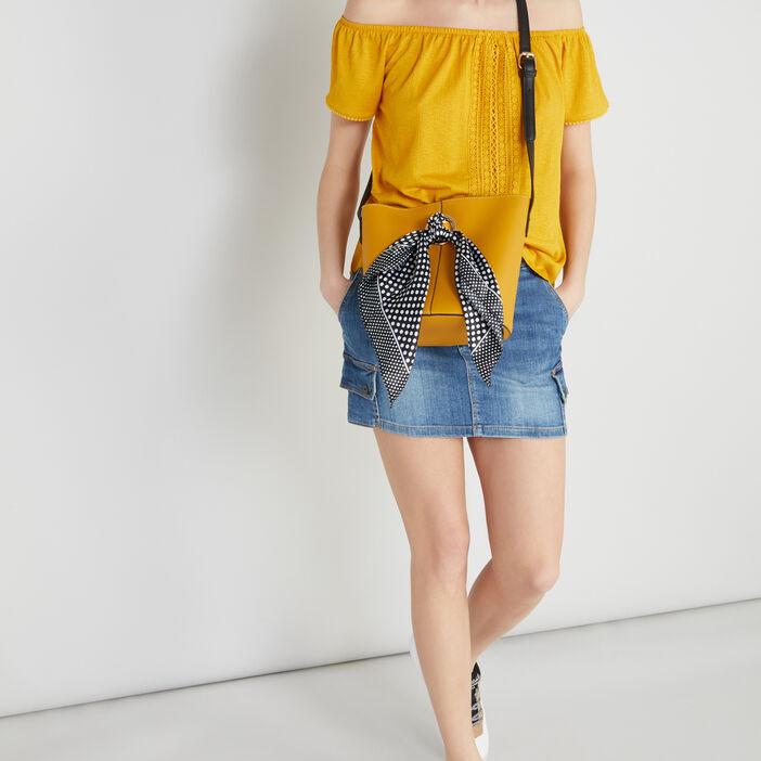 Sac à bandoulière avec foulard femme jaune