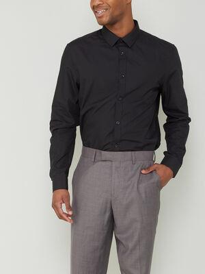Chemise slim unie manches longues noir homme