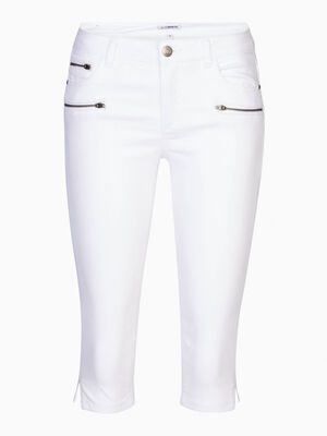 Pantacourt details zips coton majoritair blanc femme