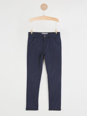 Pantalon 5 poches coton extensible bleu marine garcon