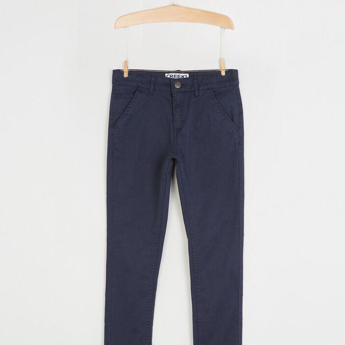 Pantalon 5 poches coton extensible garçon bleu marine