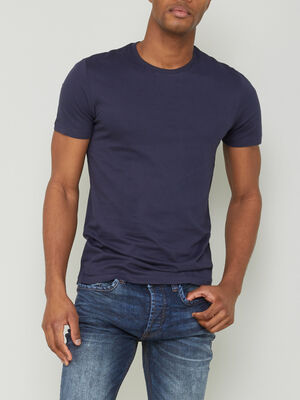 T shirt col rond uni bleu marine homme