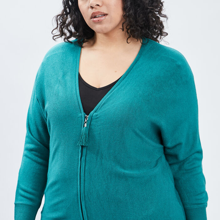 Gilet manches longues zippé femme grande taille vert
