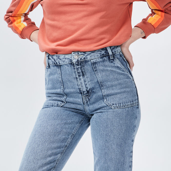 Jeans Mom femme denim bleach
