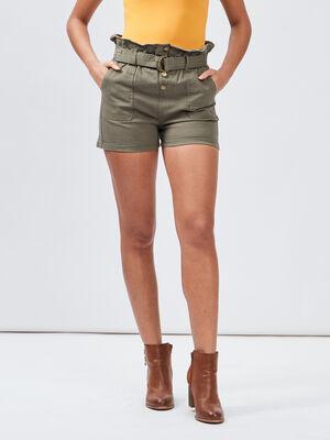 Short ample ceinture vert kaki femme