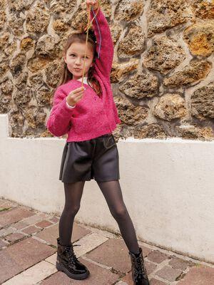 Gilet manches longues rose fushia fille