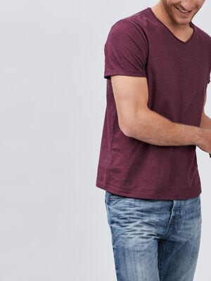 T shirt manches courtes col rond violet homme