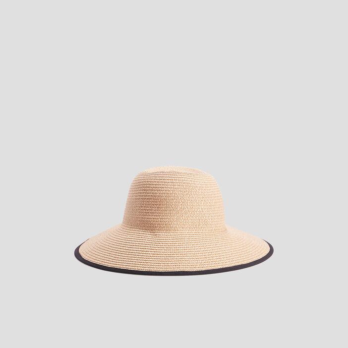 Chapeau tressé à noeud femme noir