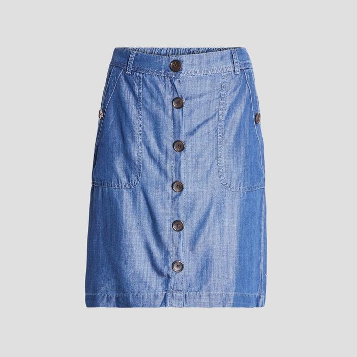 Jupe droite boutonnée en jean femme denim stone