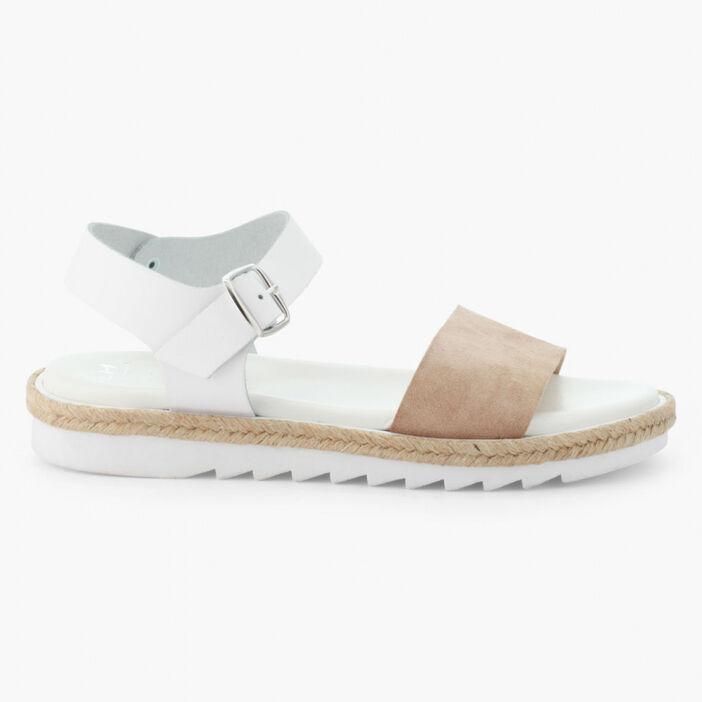 Sandales bicolores en cuir femme beige