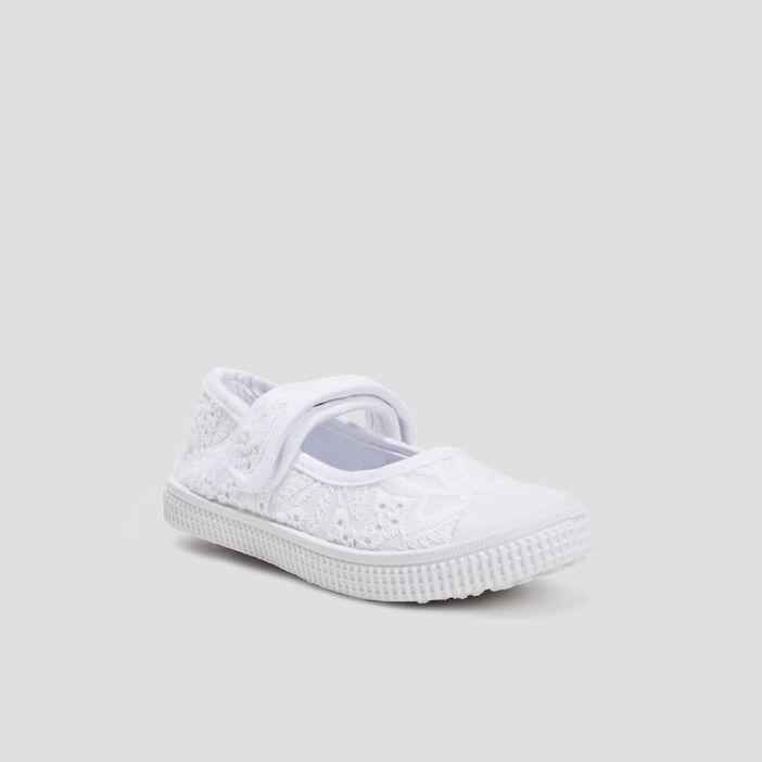 Babies en toile brodées fille blanc