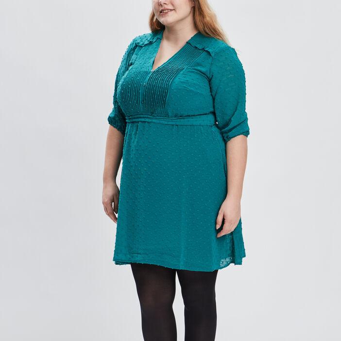 Robe évasée ceinturée femme grande taille vert