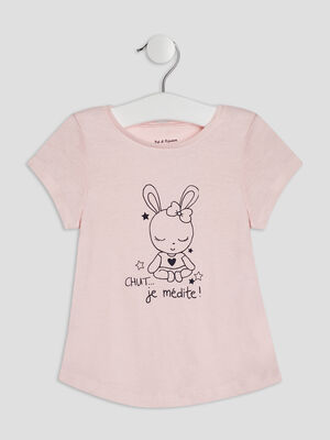 T shirt manches courtes rose clair bebef